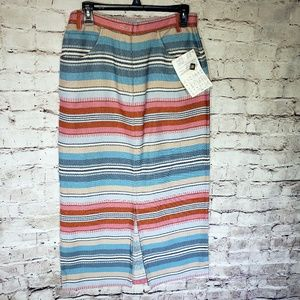 NWT Denim & Co Long Striped Zip front Cotton Skirt